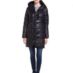 T TAHARI Quilted Gisele Hooded Down Black Jacket S